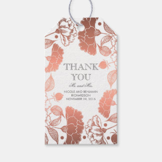 Rose Gold and White Floral Wreath - Wedding Pack Of Gift Tags