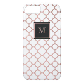 Rose Gold and white quatrefoil pattern Phone case