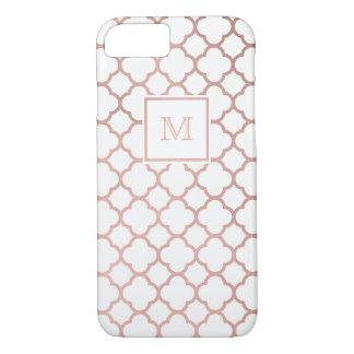 Rose Gold and white quatrefoil Phone case