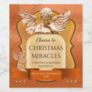 Rose Gold Angel Christmas Miracle Wine Label