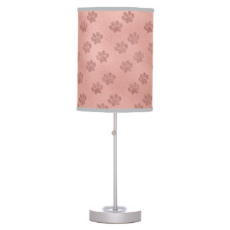 Rose Gold Animal Paw Prints for Pet Lovers Table Lamp