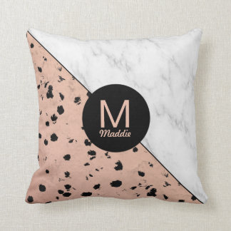 Rose Gold Animal Print with Monogram Throw Pillow