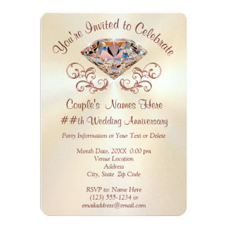 Rose Gold Anniversary Invitations, Personalized Card