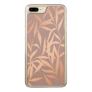 rose gold, asian,leaf,pattern,bamboo trees, beauty carved iPhone 8 plus/7 plus case