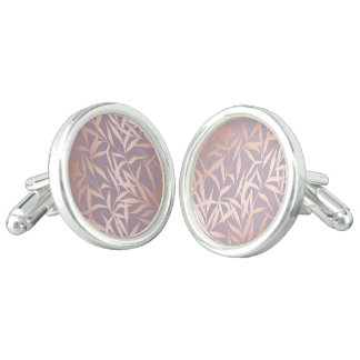 rose gold, asian,leaf,pattern,bamboo trees, beauty cufflinks
