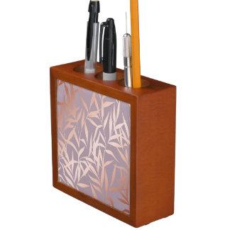 rose gold, asian,leaf,pattern,bamboo trees, beauty desk organizer