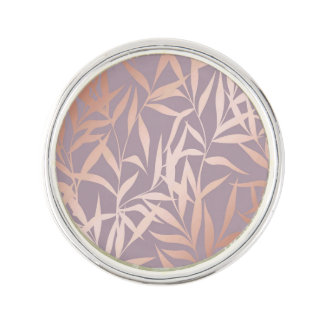 rose gold, asian,leaf,pattern,bamboo trees, beauty lapel pin