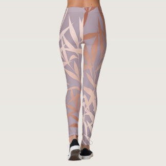 rose gold, asian,leaf,pattern,bamboo trees, beauty leggings