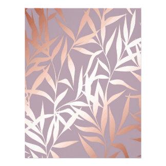 rose gold, asian,leaf,pattern,bamboo trees, beauty letterhead