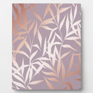 rose gold, asian,leaf,pattern,bamboo trees, beauty plaque
