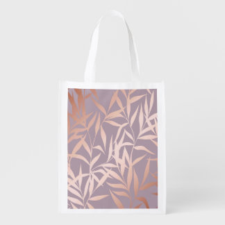 rose gold, asian,leaf,pattern,bamboo trees, beauty reusable grocery bag