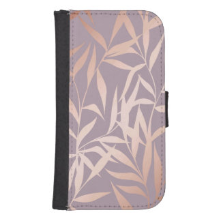 rose gold, asian,leaf,pattern,bamboo trees, beauty samsung s4 wallet case