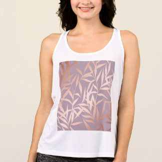 rose gold, asian,leaf,pattern,bamboo trees, beauty tank top