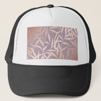 rose gold, asian,leaf,pattern,bamboo trees, beauty trucker hat