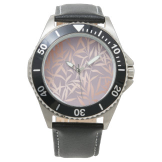 rose gold, asian,leaf,pattern,bamboo trees, beauty watch