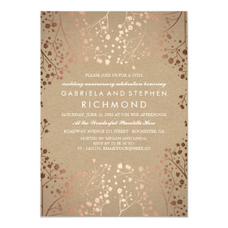 Rose Gold Baby's Breath Floral Wedding Anniversary Card