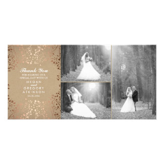 Rose Gold Baby's Breath Wedding Photo Thank You Customized Photo Card