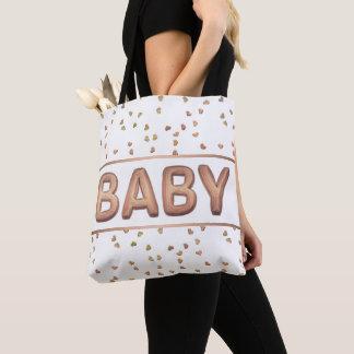 Rose Gold Balloon Confetti Hearts | Baby Diaper Tote Bag