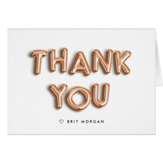 Rose Gold Balloon Personalized Thank You Card