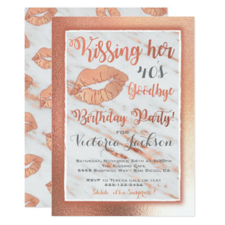 Rose Gold Birtdhay Party kiss lips on marble Card