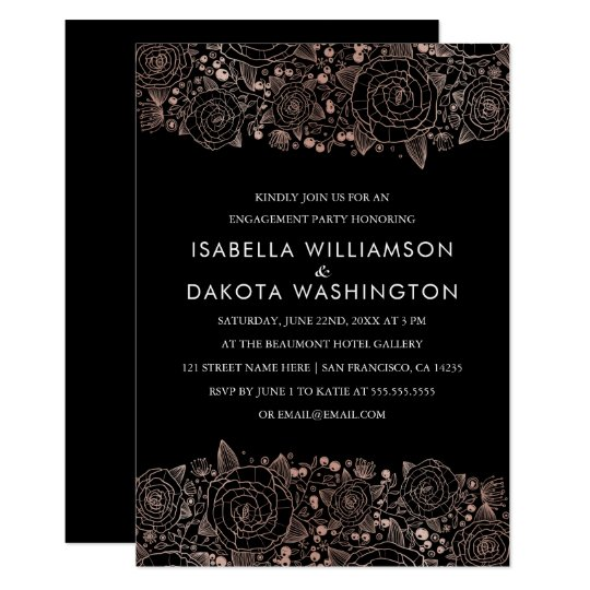 Rose Gold & Black | Chic Floral Engagement Party Card