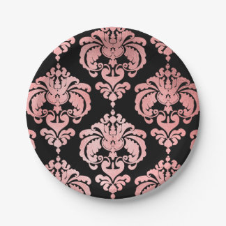 Rose Gold Black Damask Vintage Wedding Event Party Paper Plate