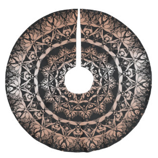 Rose Gold Black Floral Mandala Brushed Polyester Tree Skirt
