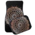 Rose Gold Black Floral Mandala Car Mat