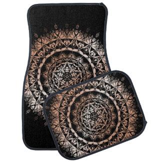 Rose Gold Black Floral Mandala Car Mat