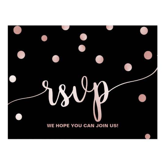 Rose Gold & Black | Glam Confetti Menu Choice RSVP Postcard