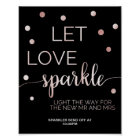 Rose Gold & Black Glam Confetti Sparkler Send Off Poster