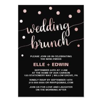 Rose Gold & Black Glam Confetti Wedding Brunch Card