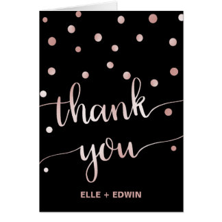 Rose Gold & Black Glam Confetti Wedding Thank You Card