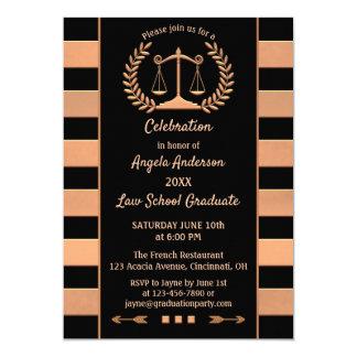 Rose Gold Black Law School Graduation Invitation