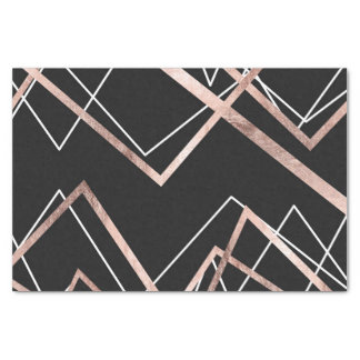 Rose Gold Black Linear Triangle Abstract Pattern Tissue Paper