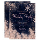 Rose gold blue snowflake winter corporate holiday card