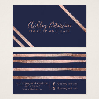 Rose gold blue stripes hair makeup typography business card