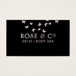 Rose Gold Blush Black Glam Butterfly Pure Business Card