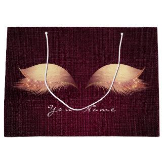 Rose Gold Blush Burgundy Lashes Eyes Makeup Linen Large Gift Bag