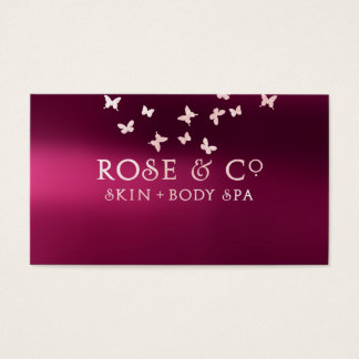 Rose Gold Blush Burgundy Shadows Glam Butterfly Business Card