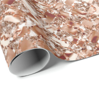 Rose Gold Blush Crystal Metallic Glass Abstract Wrapping Paper