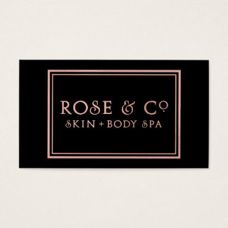 Rose Gold Blush Emerald Black Glam Frame Business Card