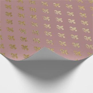 Rose Gold Blush Fior de Lis Gold Mauve Lilac Wrapping Paper
