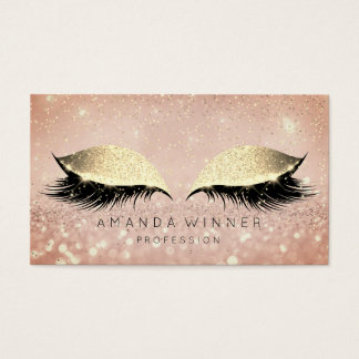 Rose Gold Blush Lashes Makeup Glitter Makeup Business Card