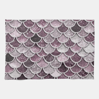 Rose Gold Blush Ombre Glitter Mermaid Scales Kitchen Towel