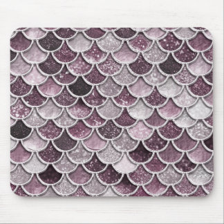 Rose Gold Blush Ombre Glitter Mermaid Scales Mouse Pad