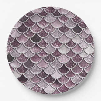 Rose Gold Blush Ombre Glitter Mermaid Scales Paper Plate