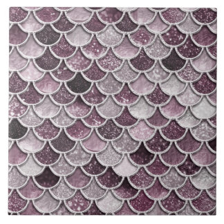 Rose Gold Blush Ombre Glitter Mermaid Scales Tile