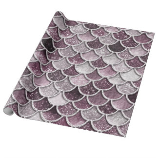 Rose Gold Blush Ombre Glitter Mermaid Scales Wrapping Paper