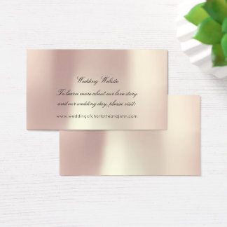 Rose Gold Blush Pearly  Delicate Wedding Website Business Card